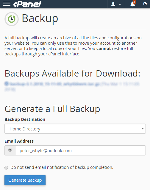 CPanel Generate Backup.