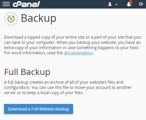 CPanel WordPress Backup.