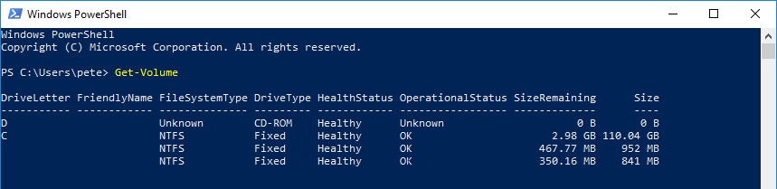 PowerShell Get-Volume.