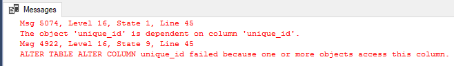 The object is dependent on column