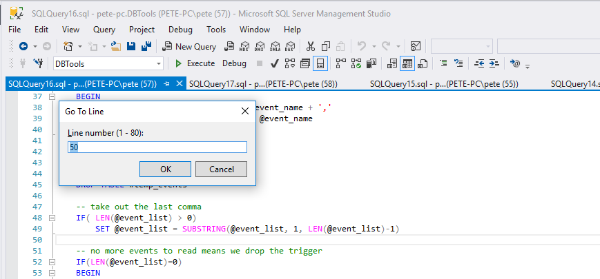 Show Line Numbers in SQL Server Management Studio