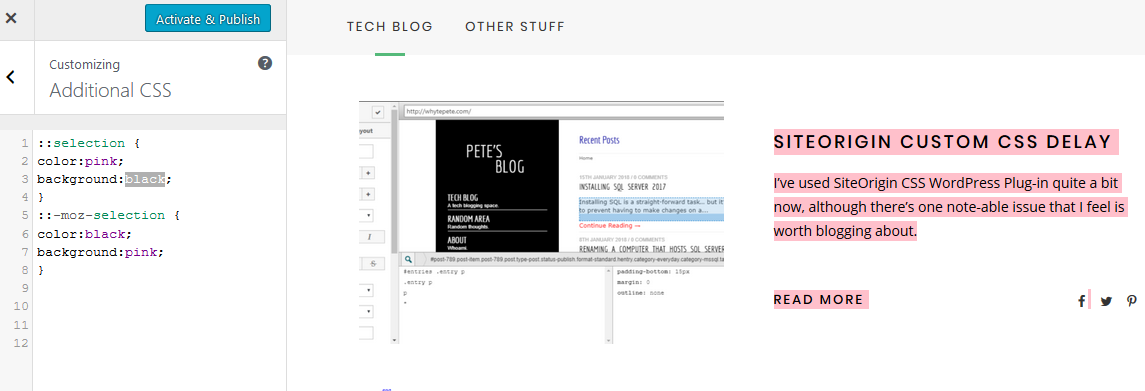 Change Highlighted Colour of Text in WordPress