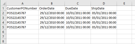 Copy SQL Smalldatetime to Excel
