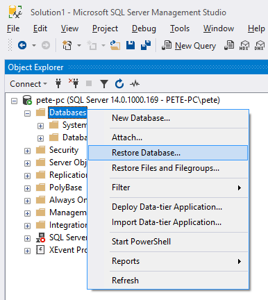 Restore Database SQL Server Management Studio
