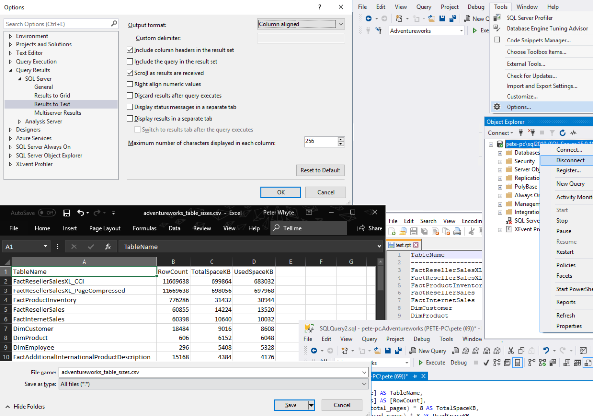 Exporting SQL Server Query Results to CSV