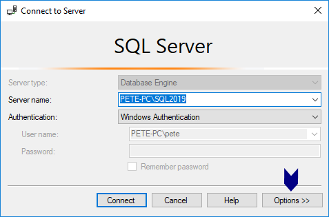 SSMS Connection Options