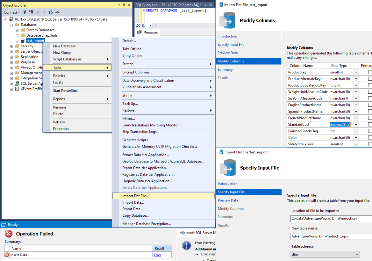 The (SSMS) Import Flat File Feature