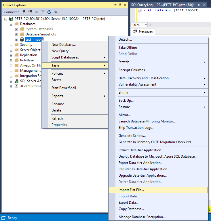 The (SSMS) Import Flat File Feature - Peter Whyte