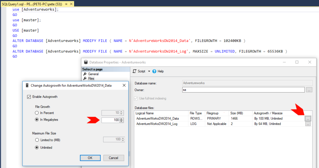 Set Growth Event Size in SQL Server.