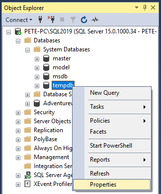 SSMS Database Properties