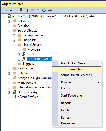 SSMS Test Linked Server Connection