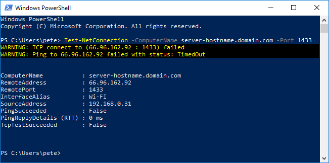 Test-NetConnection PowerShell