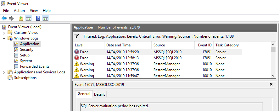Windows Event Viewer Application Errors