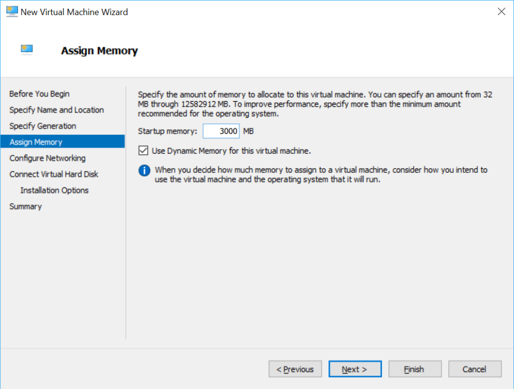 Hyper-V Virtual Machine Memory Allocation