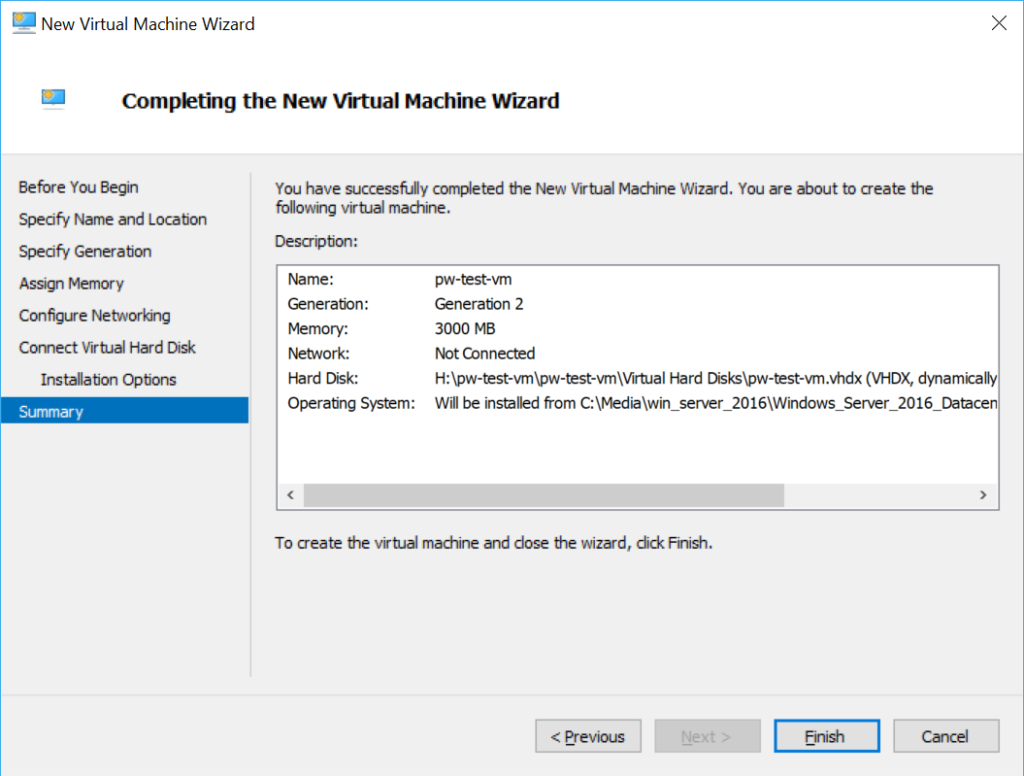 Hyper-V New Virtual Machine Summary