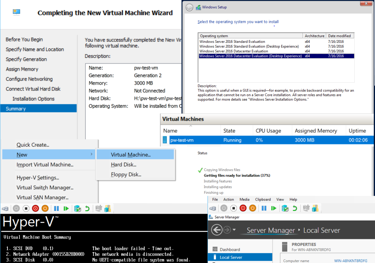 Installing Windows Server 2016 with Hyper-V