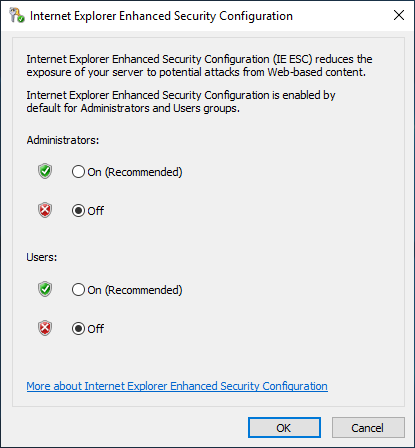 Internet Explorer Enhanced Security Configuration