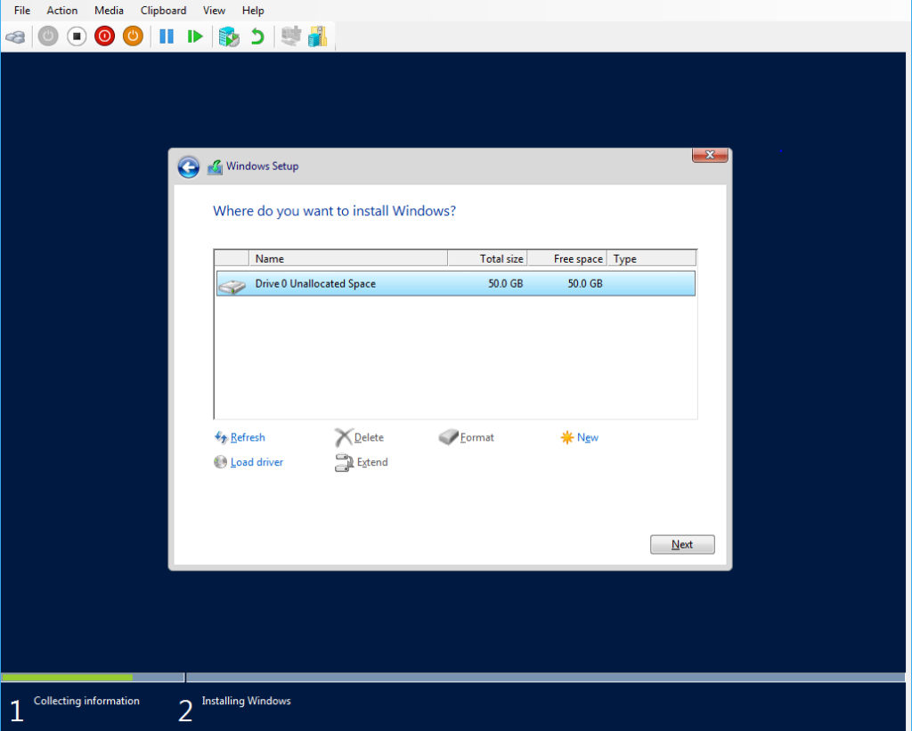 Windows Server 2016 Installation Location
