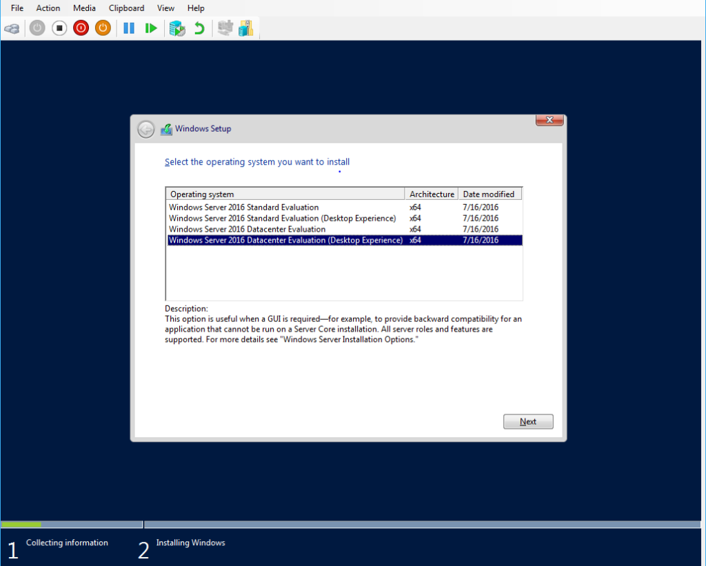 Windows Server 2016 Datacenter Installation