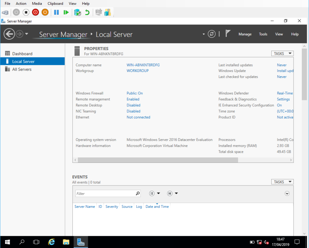 Windows Server 2016 Server Manager