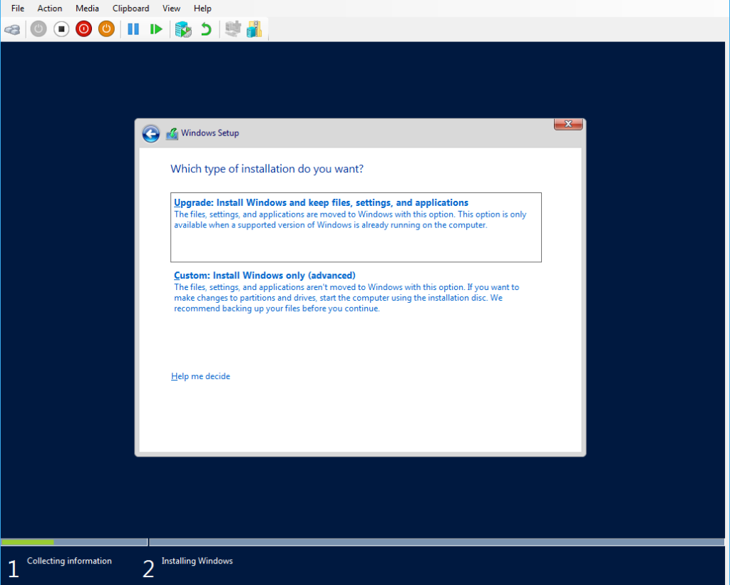 Windows Server 2016 Installation Type