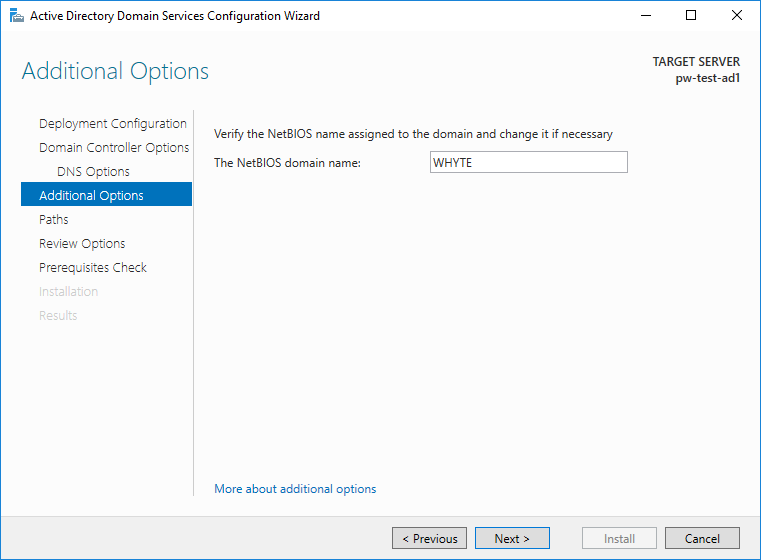 Active Directory Configuration Additional Options