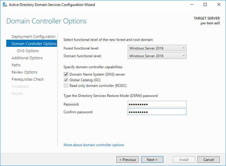 Active Directory Domain Controller Options on Install
