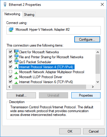 Ethernet Adapter IPv4 Properties