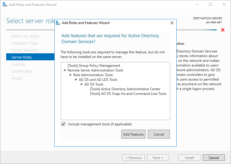 Server Manager Add Roles Active Directory