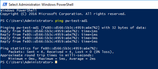 Ping Test to Active Directory