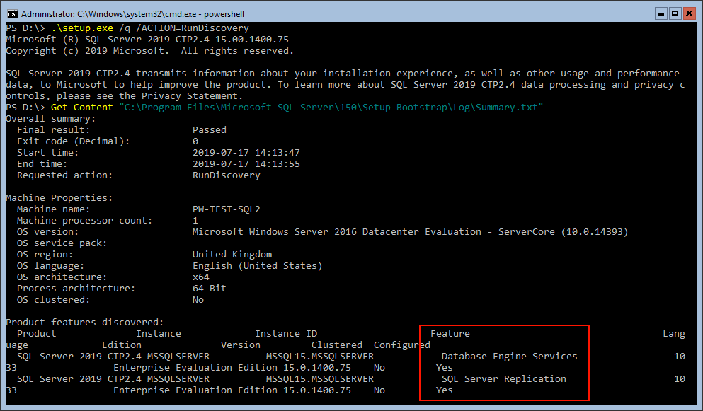 SQL Server RunDiscovery Summary File Replication