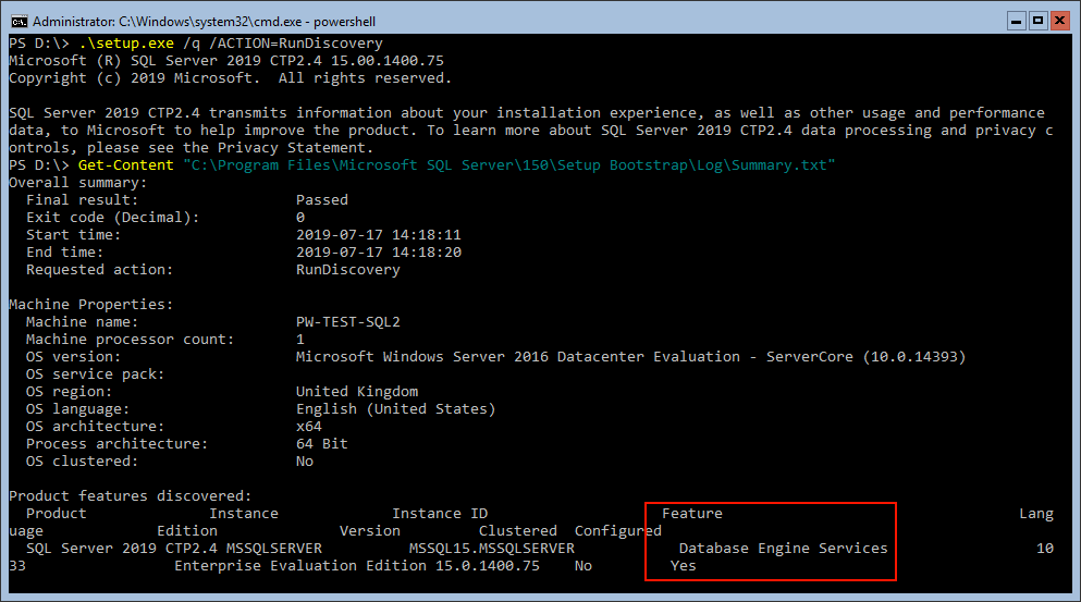 SQL Server RunDiscovery via Command Removing Feature