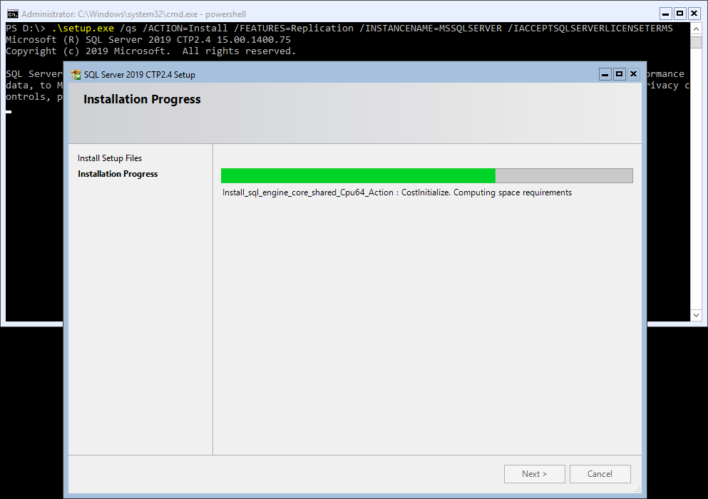 SQL Server Install Feature via Command