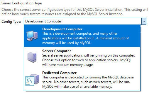 MySQL Install Server Config Type