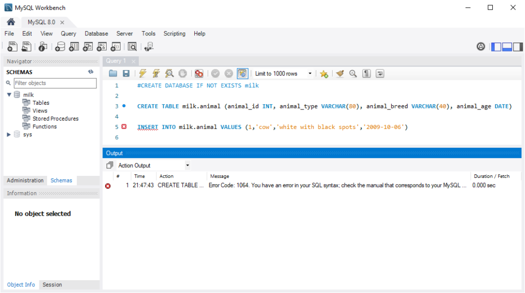 MySQL WorkBench Create Table and Insert Data (no exit)