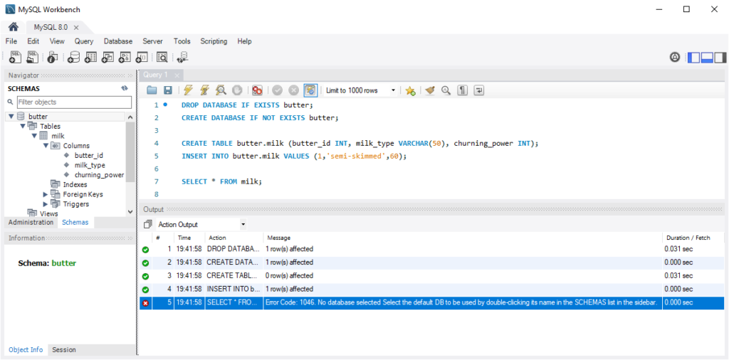 MySQL WorkBench Create Table and Insert Data (without schema)