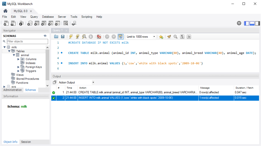 MySQL WorkBench Create Table and Insert Data (with exit)