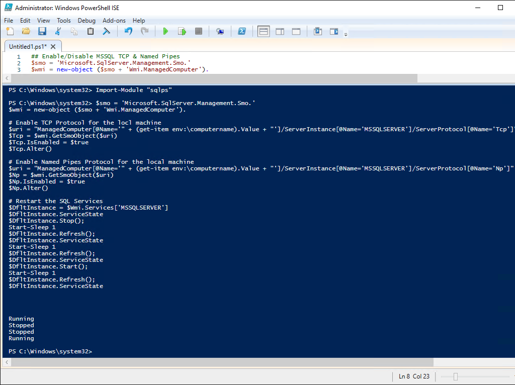 PowerShell MSSQL TCP & Named Pipes Change
