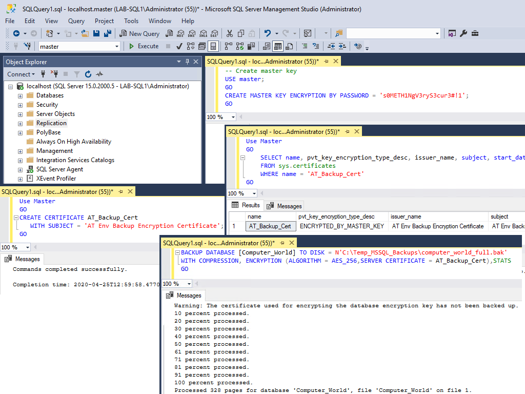 Backing up a SQL Server Database with Encryption