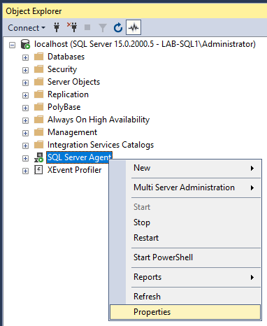 SSMS SQL Agent Properties Selection