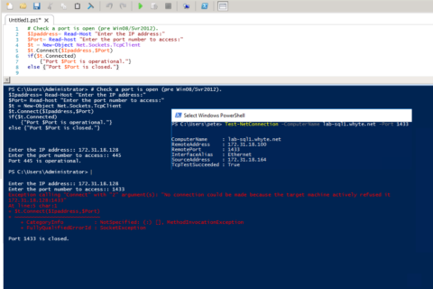 Test Connectivity to Remote Server Port PowerShell