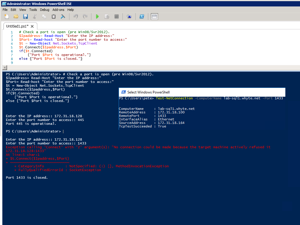 Testing Connectivity to Remote Server Ports with PowerShell