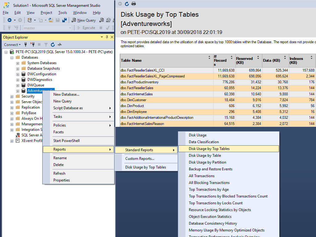 Disk Usage by Top Tables Report in SQL Server